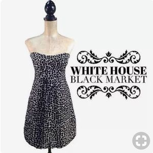 White House/Black Market printed strapless dress